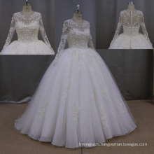 Lace Bridal Ball Gowns Sheer Long Sleeve Wedding Dresses